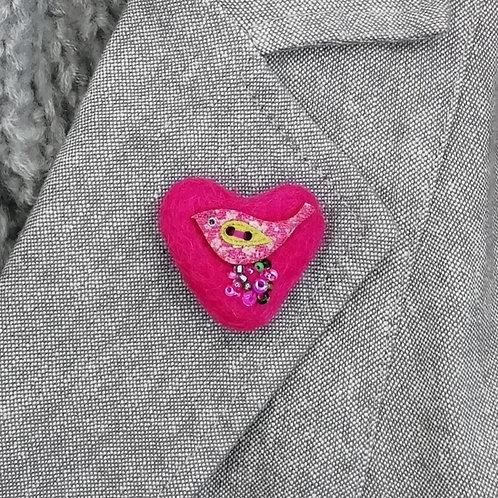 Heart Shaped  Wool Felt  'Tweetie' Brooch