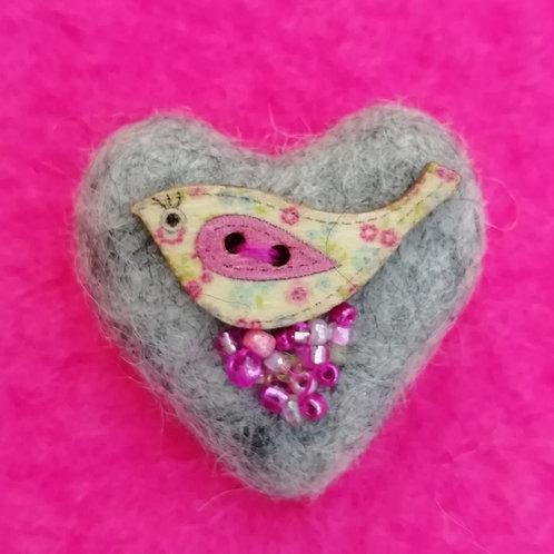 Heart Shaped 'Tweetie' - Wool Felt Brooch Pale Grey