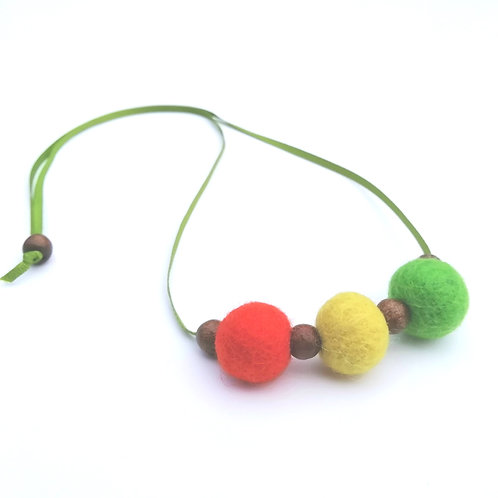 Tropical Wool Felt/Wooden Bead Necklace
