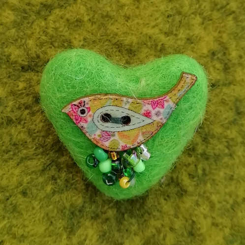 Heart Shaped 'Tweetie' - Wool Felt Brooch Bright Green