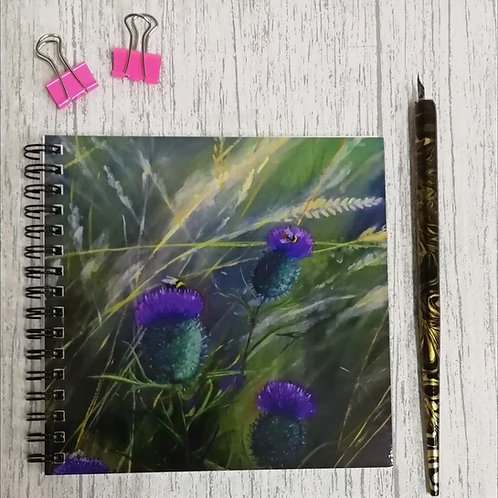 Thistles & Bumble Bees Square Notebook