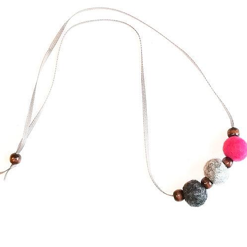 Dk grey/light grey/ cerise pink Wool Felt and Wooden Bead Necklace