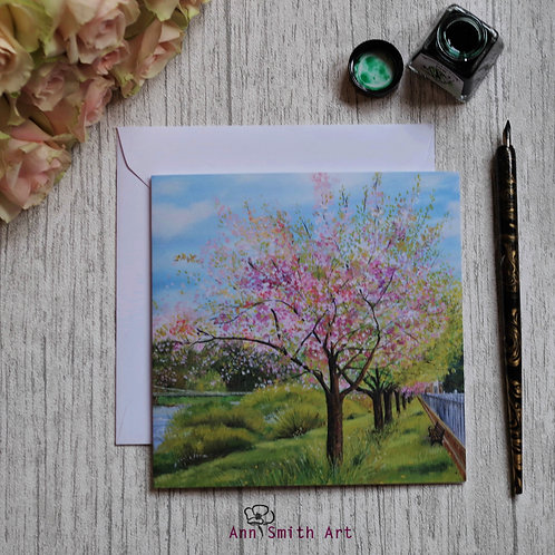 Blossoms by the Esk  Square Art Greetings Card