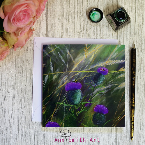 Thistles & Bumble Bees Square Art Greetings Card