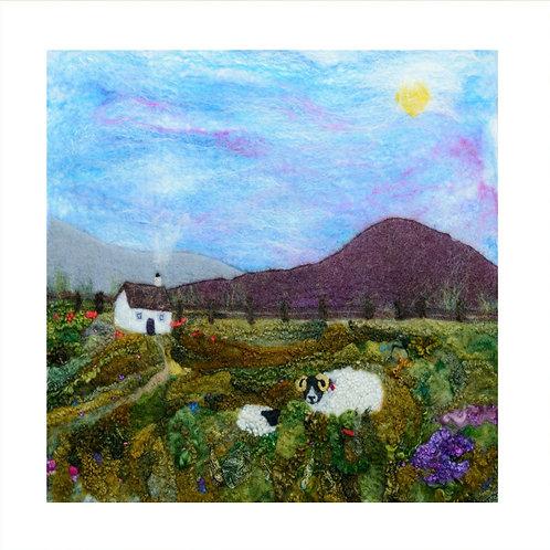 Heather Hill & Ewe - Mounted Giclee Print
