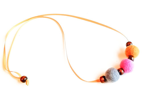 Mid Grey, Pink and Mustard Wool Felt/Wooden Bead Necklace