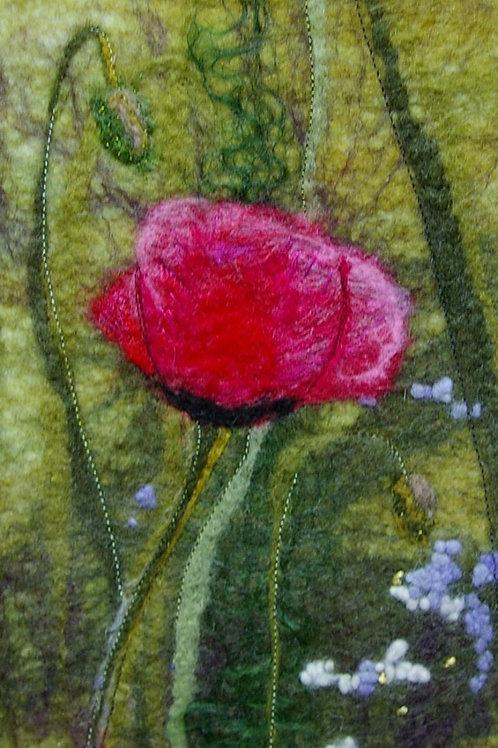 'Poppy' Original Wool Felt Painting
