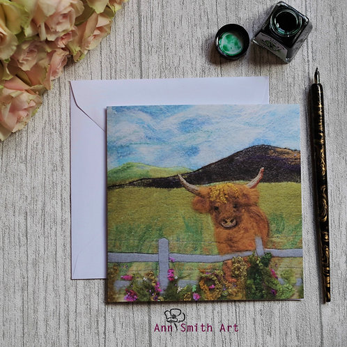 Highland Coo Art Square Greetings Card