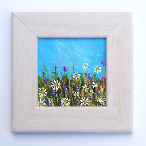 Mini Acrylic Painting - Daisies In The Meadow