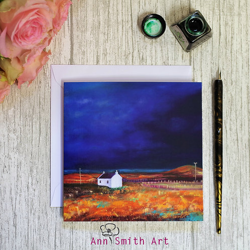 Heavy Blue Skies Square Art Greetings Card