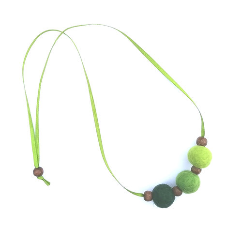 Forest Wool Felt/Wooden Bead Necklace