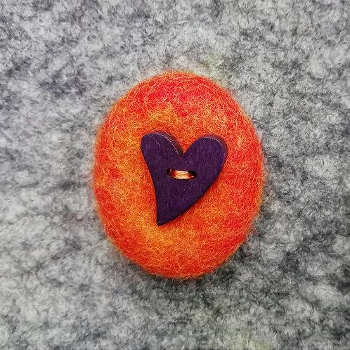 Aubergine Heart - Wool Felt Brooch Burnt Orange
