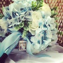 blue silk flowers bridal bouquet and loc