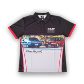 Private Label - Business Polo  -Note the Printing clarity-Inset Sleeve - Eyelet Up Fabric-150gm