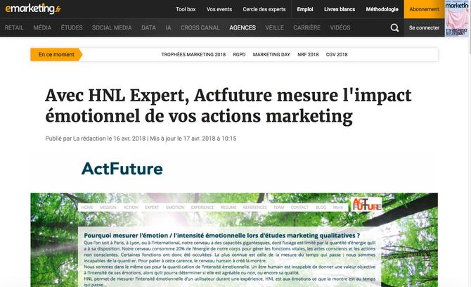 E-Marketing : ActFuture mesure l'émotion.