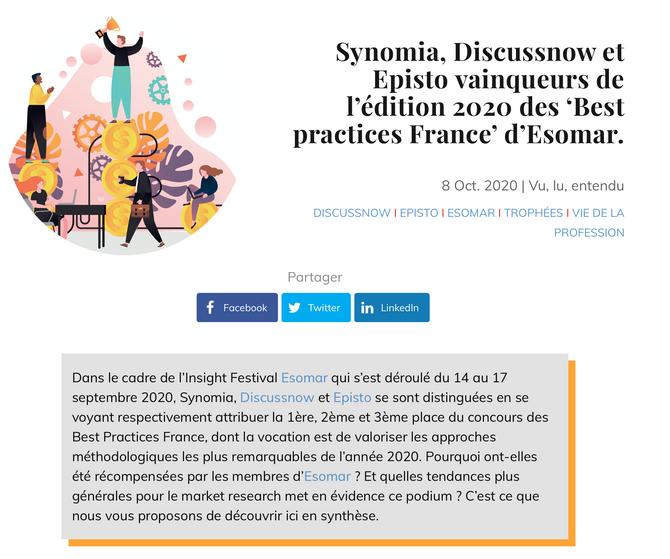 Esomar France | Best Practices du Market Research : Synomia , Discussnow et EPISTO en tête.