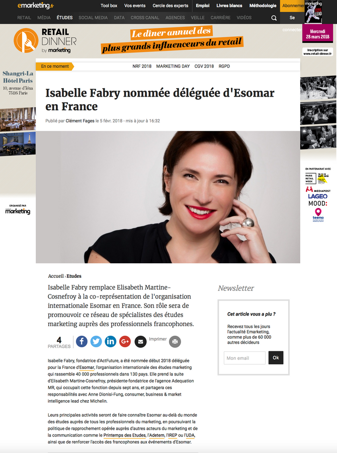 E-marketing : Isabelle Fabry - Représentant Esomar France