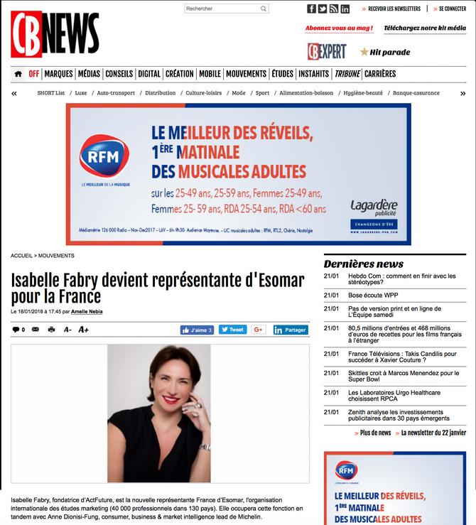 CB News : Isabelle Fabry devient représentante Esomar France.