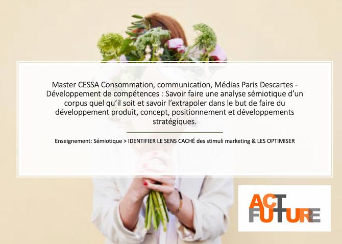 ActFuture reprend ses cours de Sémiotique au Master Cessa Consommation, Communication, Médias de Par