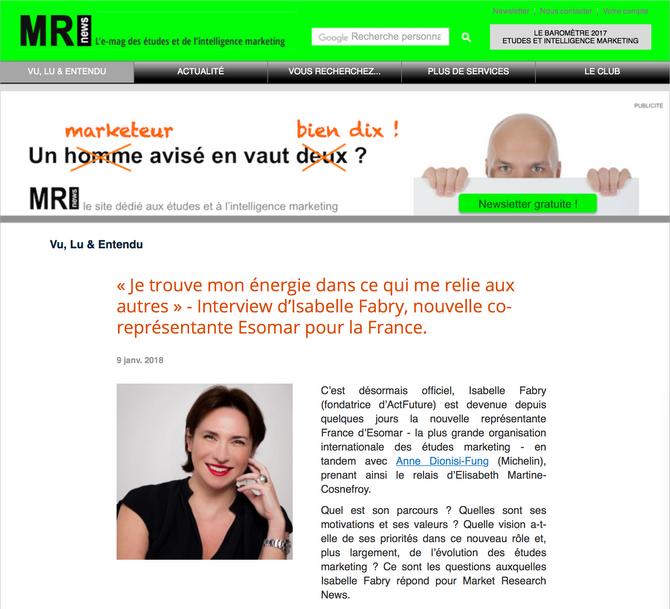 Isabelle Fabry : Co-Représentante ESOMAR France en Janvier 18