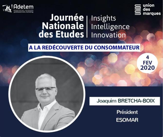 ESOMAR JNE ADETEM- Joaquim Bretcha, notre président, aura l'honneur d'être le Keynote Speak