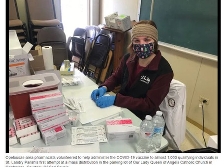 'There has never been anything as important': Opelousas pharmacists vaccinate nearly 1,000 in church