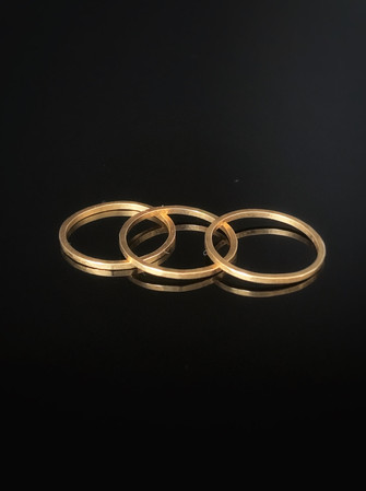 Thin Hammered Gold Stacking Rings