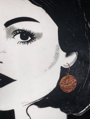 Copper Flower Dangle Earrings