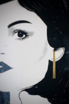 Minimalistic Long Drop Bar Gold Earrings