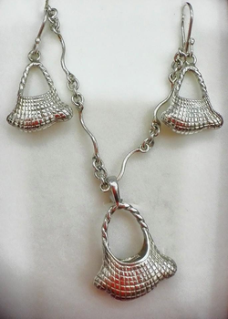 Silver Baby in Bilum Earrings, Pendant, Necklace