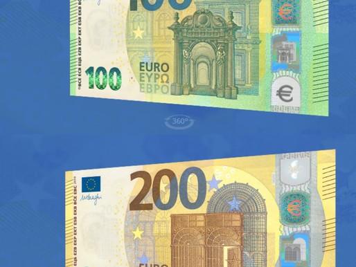 (28/05) De nouveaux billets de 100 et 200€, plus sûrs, en vigueur dès ce mardi 28 mai.