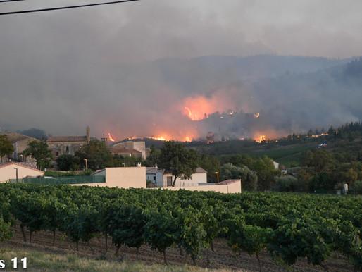 (16/08) Aude : 900 hectares de bois en fumée visible à plus de 100 km