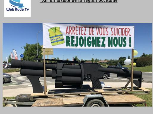 (05/06) Gilets jaunes : un LBD géant sur les rond points d'occitanie en protestation