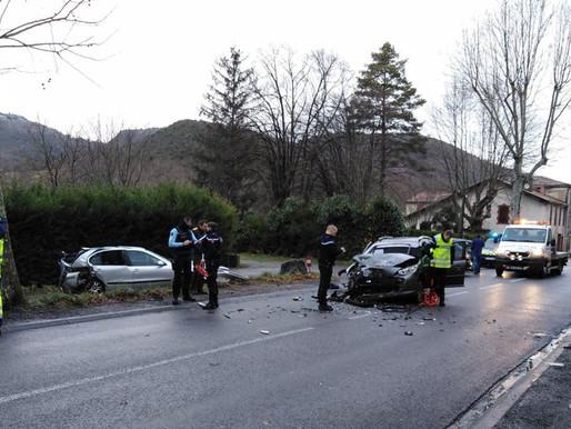 (31/01) Quillan : Quatre blessés dans une violente collision frontale