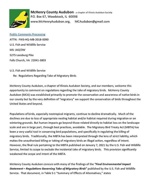 MCA Supports Migratory Bird Treaty Act.j