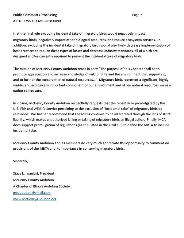 MCA Supports Migratory Bird Treaty Act p