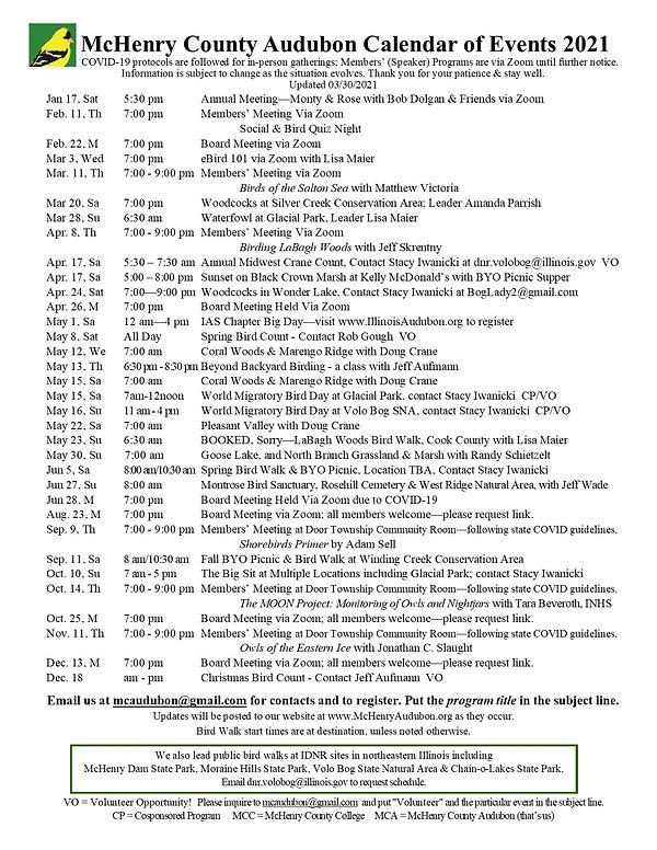 2021 McHenry County Audubon Calendar upd