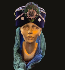 Blue velvet Turban _amanda de la rosa