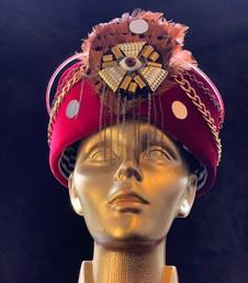 red velvet turban with light _ amanda de