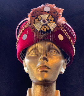 red velvet turban with light _ amanda de