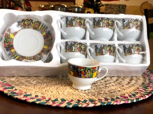 ሳባ ሲኒ Saba Cini Ethiopian Art Traditional Coffee Cup With Handle And Saucer