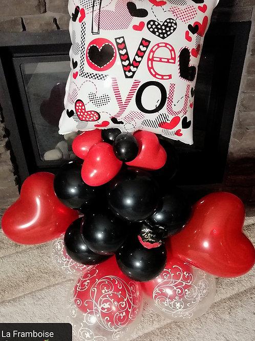 Red hearts valentine balloon gift