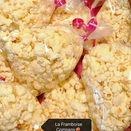 Gourmet white chocolate popcorn platter