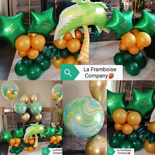Tropical themed balloon decor