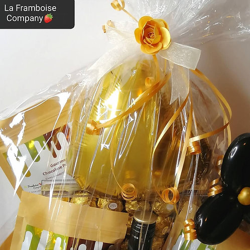 Gold chocolate gift basket