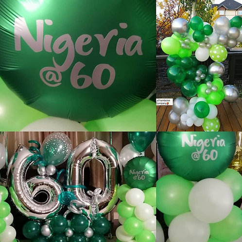 Organic balloon garland - green & silver