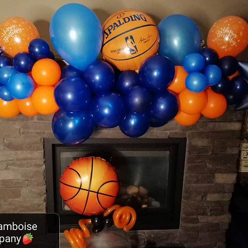 Basketball mantleplace balloon garland