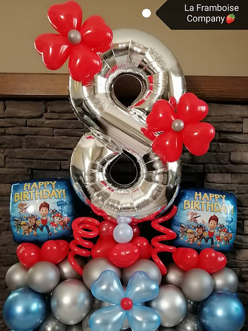 Paw Patrol number balloon decor