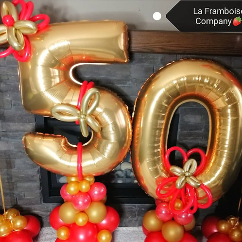 Grand 50th balloon - red & gold