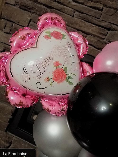 Pink hearts balloon gift